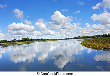 Glassy Reflection of Sky - View from the Yahara River Trail,...
