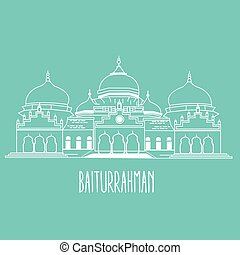 baiturrahman mosque Islam historic building in Aceh...