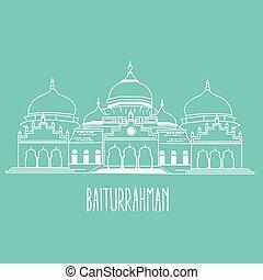 baiturrahman mosque Islam historic building in Aceh...