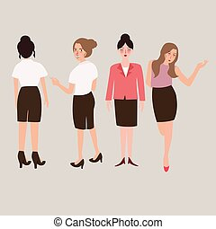 business woman standing isolated female full body - business...