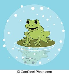 frog smile character above leaf in pond funny cute