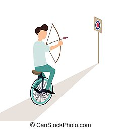business aiming target while riding cycle