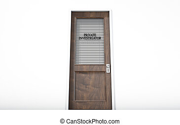 Door In Private Eye Room - A 3D render of a wooden door with...