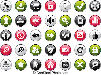 Internet Icon Set - Internet Four Colors Icon Set Easy To...