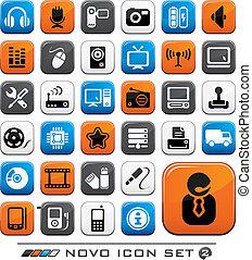 vídeo, audio, y, computadora, icono, botones,...