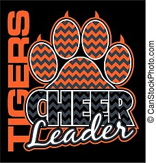 tigers cheerleader team design with paw print and chevrons...