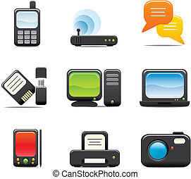 Electronic Computer Icon Set One. Easy to edit vector image.