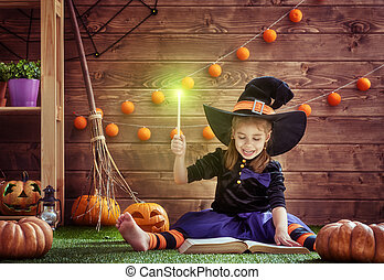 ittle witch with a magic wand - Happy Halloween! Cute...