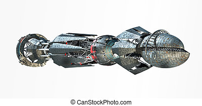 Spaceship with Warp Drive - 3D rendering of spaceship with a...