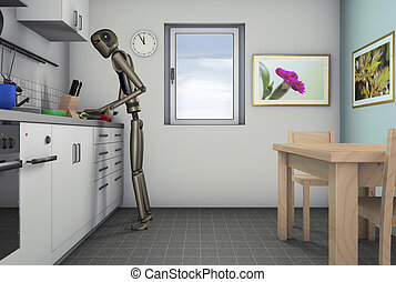 Food processor, a robot can help in the kitchen3d rendering...