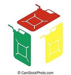 Jerrycan oil sign. Jerry can oil sign. Isometric style of...