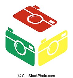 Digital photo camera sign. Isometric style of red, green and...