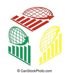 Growing graph with earth. Isometric style of red, green and yellow icon.