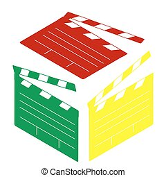 Film clap board cinema sign. Isometric style of red, green and yellow icon.