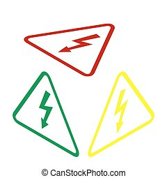 High voltage danger sign. Isometric style of red, green and yellow icon.