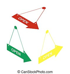 Open sign illustration. Isometric style of red, green and yellow icon.