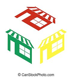 Store sign illustration. Isometric style of red, green and yellow icon.