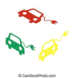 Eco electric car sign. Isometric style of red, green and...