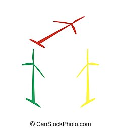 Wind turbine logo or sign. Isometric style of red, green and yellow icon.