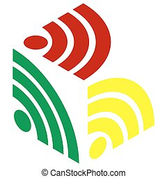RSS sign illustration. Isometric style of red, green and yellow icon.