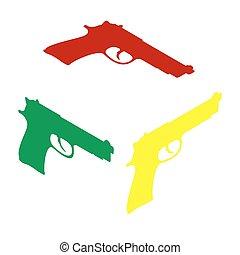 arma de fuego, señal, Ilustración, Isométrico, estilo, de,...