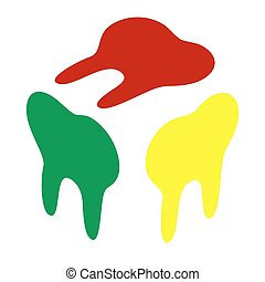Tooth sign illustration. Isometric style of red, green and yellow icon.