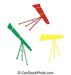 Telescope simple sign. Isometric style of red, green and yellow icon.