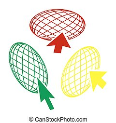 Earth Globe with cursor. Isometric style of red, green and yellow icon.