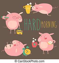 Funny pigs about hard awaking with coffee mugs Vector...