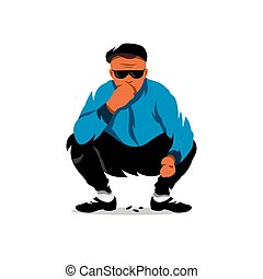 Vector relaxed man eats seeds. Cartoon Illustration. - Boy...