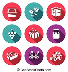 Vector Set of Agriculture Icons Market, Roses, Beehive,...