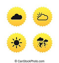 Weather icons Cloud and sun Storm symbol - Weather icons...
