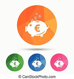 Piggy bank sign icon Moneybox symbol - Piggy bank sign icon...