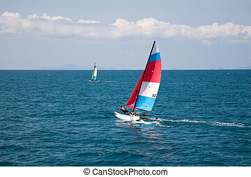 Sailing Boat Yacht Racing At Full Power