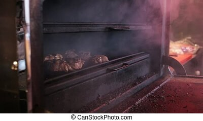 Cooking meat in Josper - Cooking meat at the restaurant...