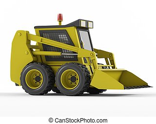 Skid steer isolated on a white background. 3D rendering