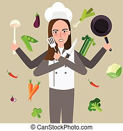 woman cheff holding knife vegetable pan flying around