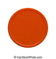 Orange plastic token money - Orange plastic chip fiche token...