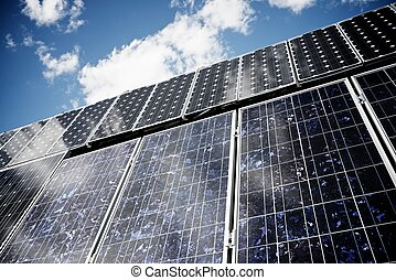 Solar Energy - detail of a photovoltaic panel for renewable...