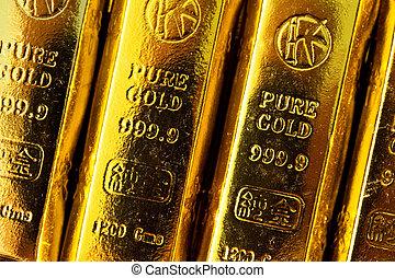 Gold bars close up shot