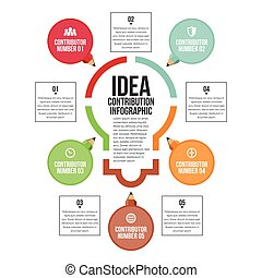 Idea Contribution Infographic - Vector illustration of idea...