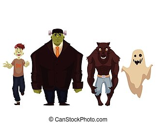 People dressed in monster, zombie, werewolf and ghost Halloween costumes