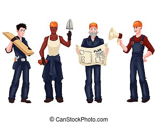 Set of industrial workers - foreman, builder, bricklayer, architect