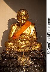Golden statue of Ban Huai Mongkhon - Golden statue in Wat...