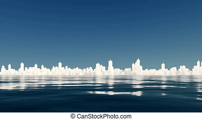 City skyline reflected in water - Abstract white city...