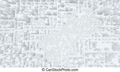 Abstract white big 3D city top view 4K - Straight overhead...