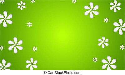 Green abstract summer flowers video animation