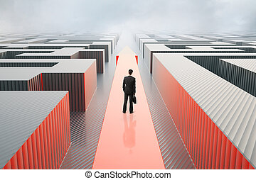 Success concept - Businessman standing on red arrow going...