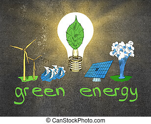Green energy concept - Creative light bulb with leaf, solar...