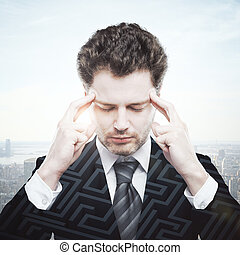 Business challenge concept - Thoughtful caucasian...